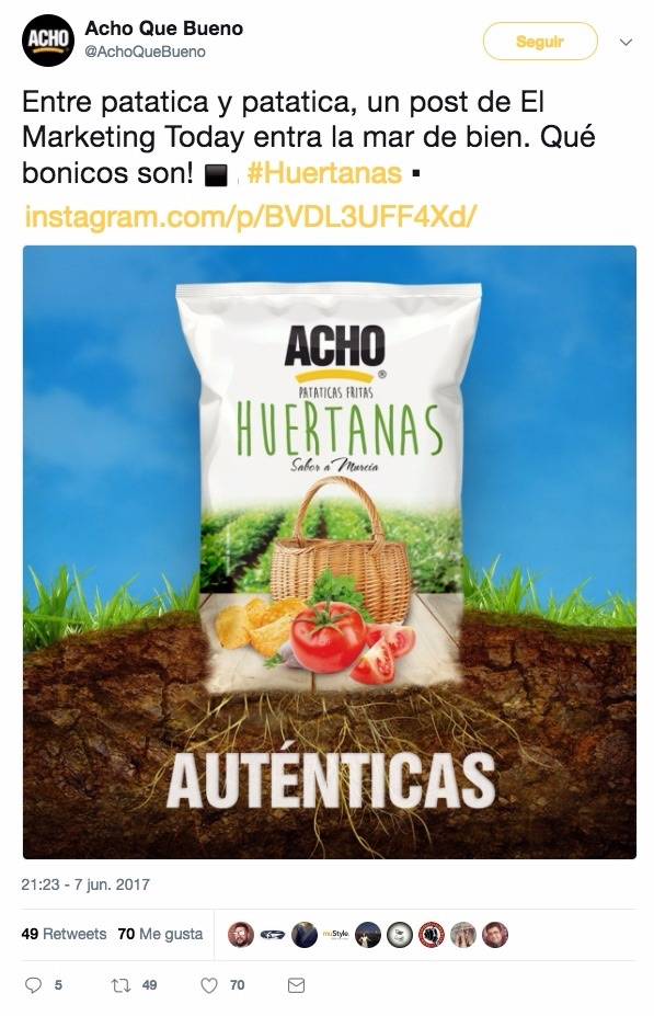 Patatas Acho leen el Marketing Today